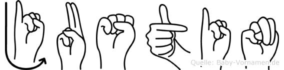Justin in Fingersprache für Gehörlose