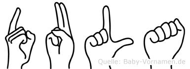 Dula im Fingeralphabet der Deutschen Gebärdensprache