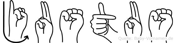 Justus im Fingeralphabet der Deutschen Gebärdensprache