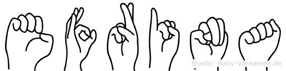 Efrina in Fingersprache für Gehörlose