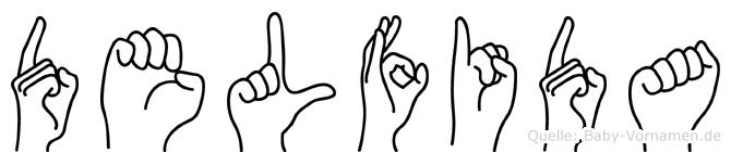 Delfida im Fingeralphabet der Deutschen Gebärdensprache
