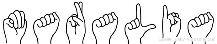 Maralia im Fingeralphabet der Deutschen Gebärdensprache