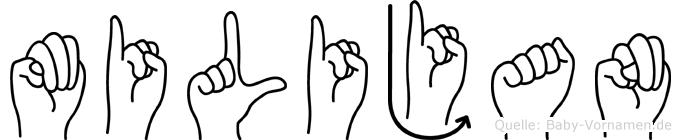 Milijan im Fingeralphabet der Deutschen Gebärdensprache