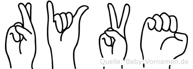 Ryve im Fingeralphabet der Deutschen Gebärdensprache
