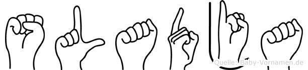 Sladja im Fingeralphabet der Deutschen Gebärdensprache