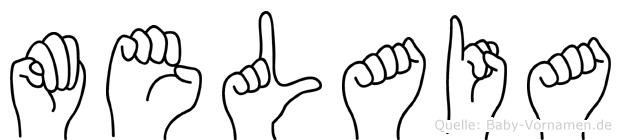 Melaia im Fingeralphabet der Deutschen Gebärdensprache