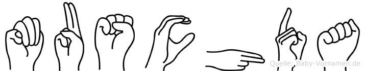 Muschda im Fingeralphabet der Deutschen Gebärdensprache