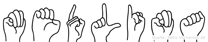 Medlina im Fingeralphabet der Deutschen Gebärdensprache