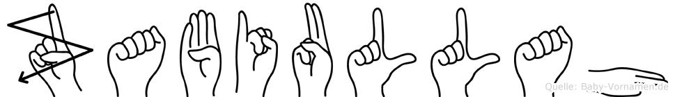Zabiullah im Fingeralphabet der Deutschen Gebärdensprache