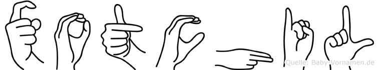 Xotchil im Fingeralphabet der Deutschen Gebärdensprache