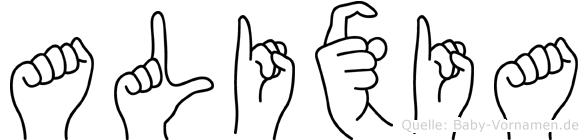 Alixia im Fingeralphabet der Deutschen Gebärdensprache
