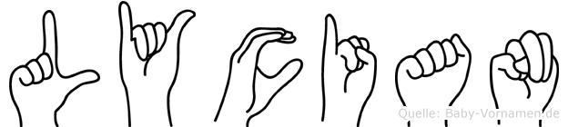 Lycian im Fingeralphabet der Deutschen Gebärdensprache