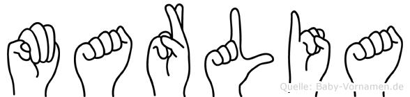 Marlia im Fingeralphabet der Deutschen Gebärdensprache