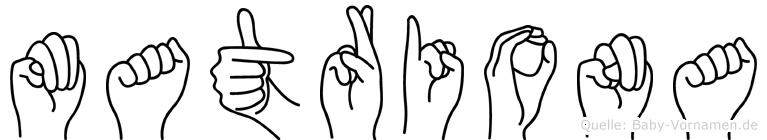 Matriona im Fingeralphabet der Deutschen Gebärdensprache