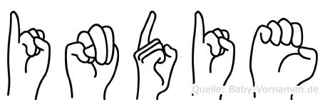 Indie im Fingeralphabet der Deutschen Gebärdensprache