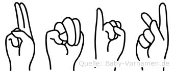 Unik in Fingersprache für Gehörlose