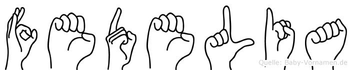 Fedelia im Fingeralphabet der Deutschen Gebärdensprache
