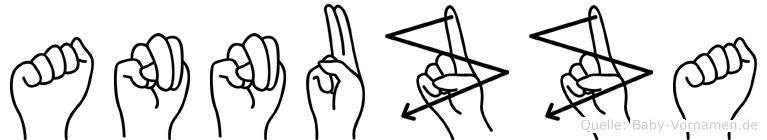 Annuzza im Fingeralphabet der Deutschen Gebärdensprache