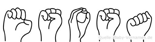 Esosa im Fingeralphabet der Deutschen Gebärdensprache