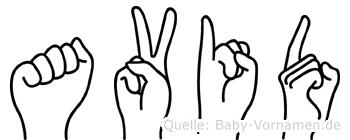 Avid im Fingeralphabet der Deutschen Gebärdensprache