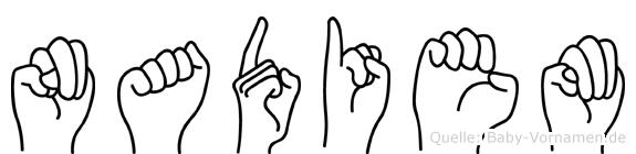 Nadiem im Fingeralphabet der Deutschen Gebärdensprache