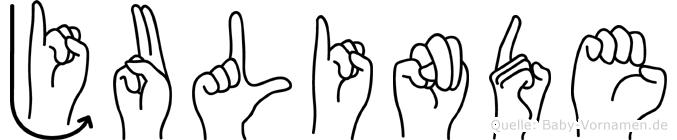 Julinde im Fingeralphabet der Deutschen Gebärdensprache