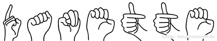 Danette im Fingeralphabet der Deutschen Gebärdensprache