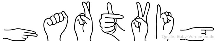 Hartvig im Fingeralphabet der Deutschen Gebärdensprache