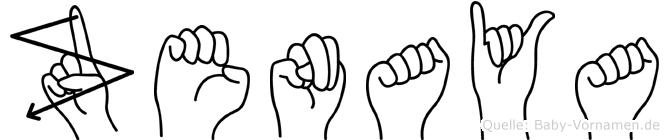 Zenaya in Fingersprache für Gehörlose