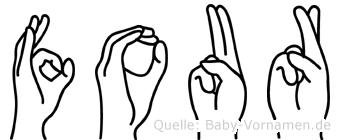Four in Fingersprache für Gehörlose