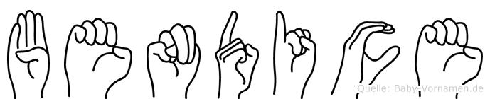 Bendice im Fingeralphabet der Deutschen Gebärdensprache