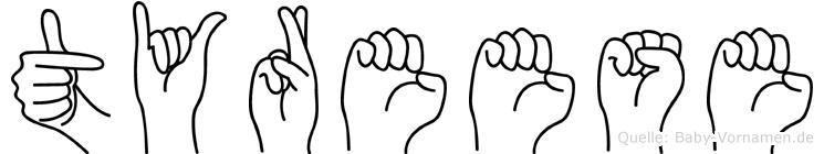 Tyreese im Fingeralphabet der Deutschen Gebärdensprache