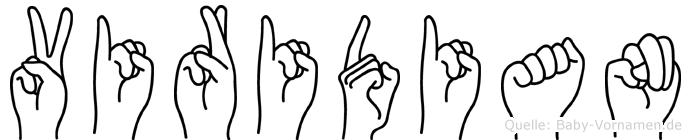 Viridian im Fingeralphabet der Deutschen Gebärdensprache