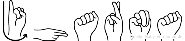 Jharna im Fingeralphabet der Deutschen Gebärdensprache