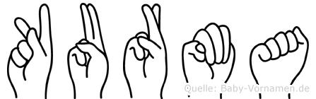Kurma im Fingeralphabet der Deutschen Gebärdensprache