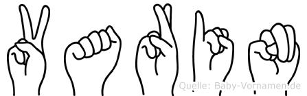 Varin im Fingeralphabet der Deutschen Gebärdensprache