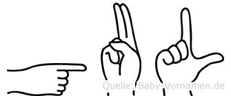 Gul in Fingersprache für Gehörlose