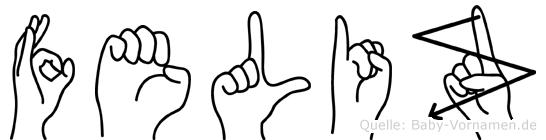Feliz im Fingeralphabet der Deutschen Gebärdensprache
