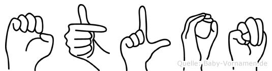 Etlon im Fingeralphabet der Deutschen Gebärdensprache