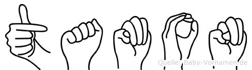 Tamon im Fingeralphabet der Deutschen Gebärdensprache