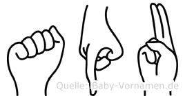Apu in Fingersprache für Gehörlose