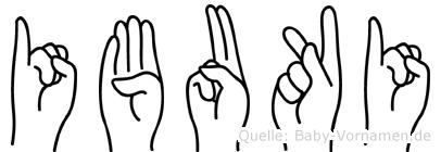 Ibuki im Fingeralphabet der Deutschen Gebärdensprache
