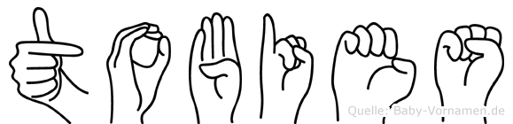 Tobies im Fingeralphabet der Deutschen Gebärdensprache