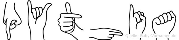 Pythia im Fingeralphabet der Deutschen Gebärdensprache