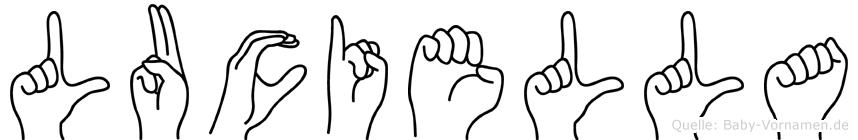 Luciella im Fingeralphabet der Deutschen Gebärdensprache
