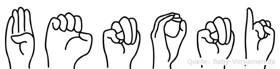 Benoni im Fingeralphabet der Deutschen Gebärdensprache