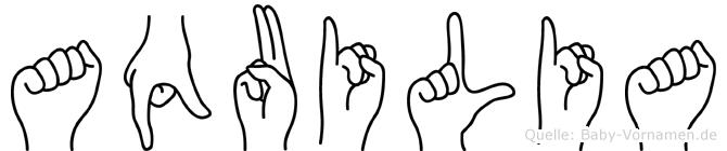 Aquilia im Fingeralphabet der Deutschen Gebärdensprache