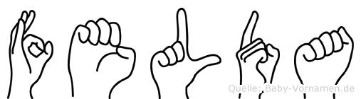 Felda im Fingeralphabet der Deutschen Gebärdensprache