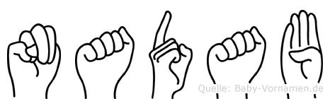 Nadab im Fingeralphabet der Deutschen Gebärdensprache