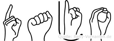 Dajo im Fingeralphabet der Deutschen Gebärdensprache